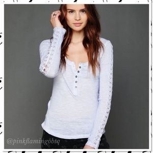 Free People Shell Stitch Lace Henley Periwinkle